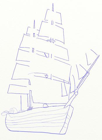 Как нарисовать парусный корабль, шаг 5