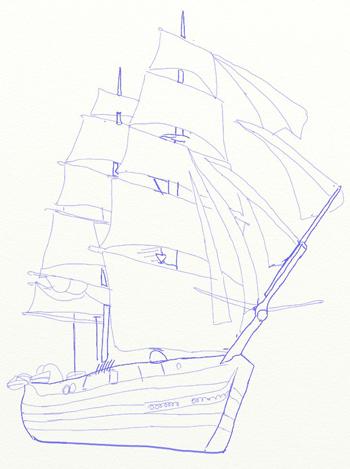 Как нарисовать парусный корабль, шаг 6