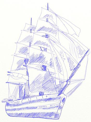 Как нарисовать парусный корабль, шаг 7