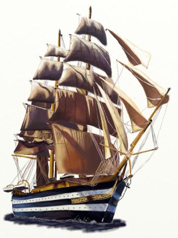 Как нарисовать парусный корабль, шаг 8