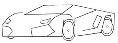 Как нарисовать спортивную машину, шаг 3