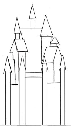 Как нарисовать замок, шаг 2