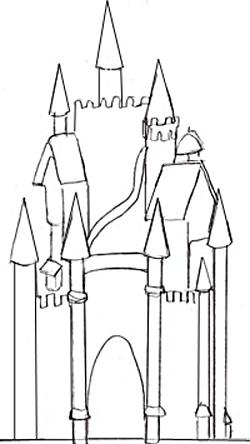 Как нарисовать замок, шаг 3
