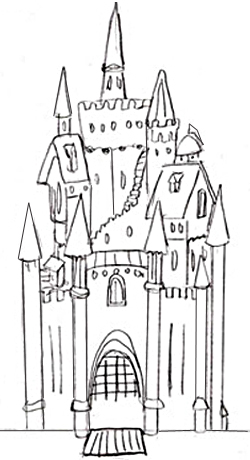 Как нарисовать замок, шаг 4