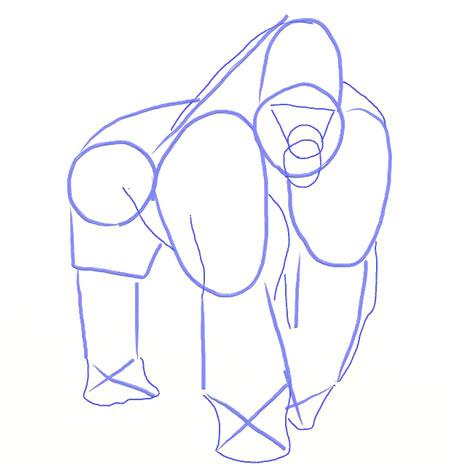 Как нарисовать обезьяну, шаг 4